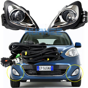 For 2018 2013 Nissan Micra March Bumper Fog Lamp Complete Kit W Switch Wire