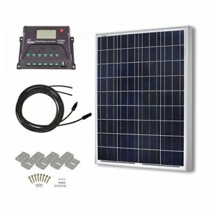 Hqst 100 Watts 12 Volts Polycrystalline Solar Panel Off grid Rv And Boat Kit 20a