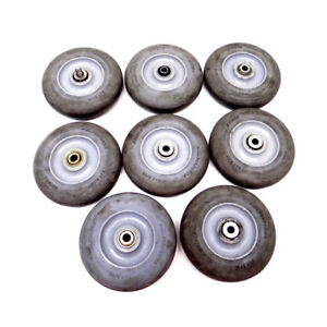 lot Of 8 Colson Hi tech Performa Rubber 5 X 1 5 16 Round Grey Caster Wheels