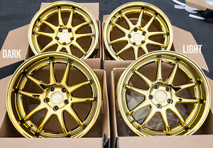 18x9 5 10 5 Aodhan Ds02 5x114 3 22 Gold Vaccum Rims Fits 350z G35 Coupe Used