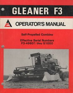 April 1983 Allis chalmers Gleaner F3 Self propelled Combine Operator s 367