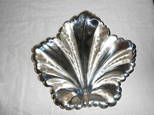Wmf Silver Leaf Shaped Footed Tray Ep Brass Greece