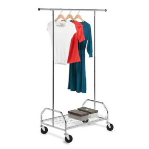 Heavy Duty Commercial Clothing Garment Rolling Single Hanging Dry Rack Hanger