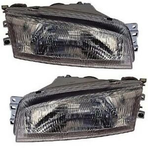 Headlight Set For 97 99 2000 2001 Mitsubishi Mirage Left And Right With Bulb 2pc