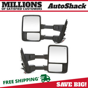 Pair 2 Power Heat Extending Signal Side Mirror For 08 16 Ford F 250 Super Duty