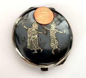 Vintage Siam Sterling Silver Compact Mirror Powder Cosmetic Thai Dancer Niello