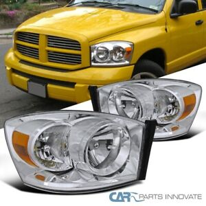 For Dodge 06 08 Ram 1500 2500 3500 Pickup Clear Headlights Driving Lamps Pair