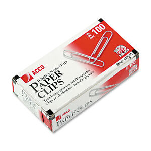 Acco Jumbo Nonskid Silver Economy Paper Clips pack Of 20