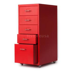 5 Drawer Metal File Cabinet Filing Lateral Letter Organizer Under Desk Red A2v2