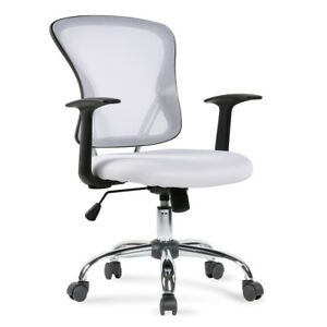 Modern Office Chair Mid Back Ergonomic Mesh Executive Computer Desk Task White