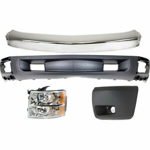Bumper Kit For 2007 2008 Silverado 1500 Light Duty Front For All Cab Types 4pc