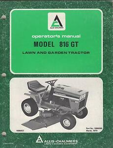 1979 Allis chalmers Lawn And Garden Tractor Model 816 Gt Operator s Manual