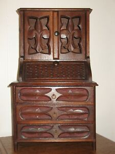 Antique Walnut Wood Doll Secretary Desk Carved Childs Toy 100 Yrs Old Extra Nice