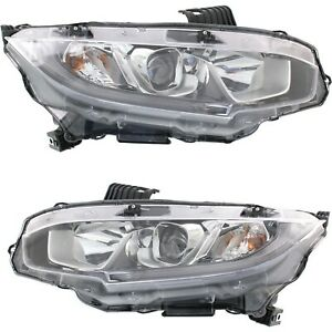 Halogen Headlight For 2016 2018 Honda Civic Pair Lh And Rh