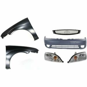 Bumper Cover Kit For 2005 07 Ford Focus Front With Fog Light Holes Provision 6pc