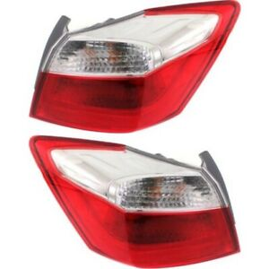 Halogen Tail Light Set For 2013 2015 Honda Accord Outer Red W Bulbs 2pcs Capa