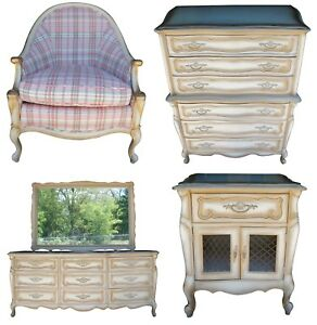 Bassett Cartier Coll Bedroom Set French Provincial Dresser Chest Table Chair
