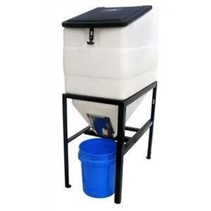 Feed Bin With Stand 270 Pound Capacity Eliminates Feed Contamination Livestock