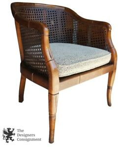 Mid Cent Asian Inspired Distressed Mahogany Barrel Back Cane Chair Rikes Dayton