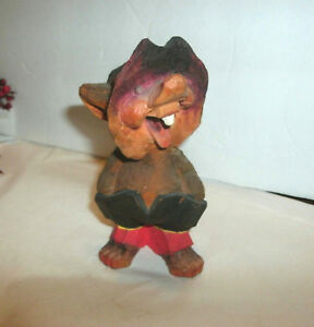 Vintage Wood Carved Troll Gnome Henning 5 1 4 Toothy Smile