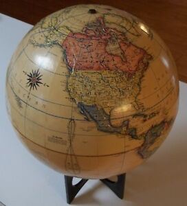 Vintage Rand Mcnally Terrestrial Globe 12 Raised Topography W Ships Neat Base