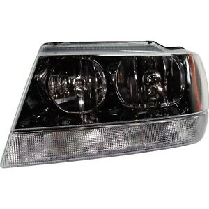 Headlight For 99 2004 Jeep Grand Cherokee Left Black Housing With Harness