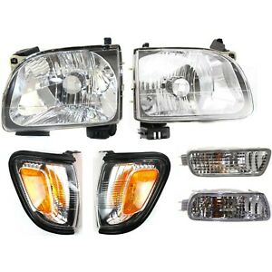 For 2001 2004 Toyota Tacoma Headlights Corner Signal 6pcs Blk Lamps Bumper Light