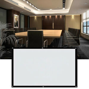 Electric Motorized Remote Projection Screen Hd Movie Projector 16 9 100 White