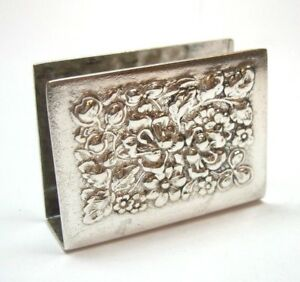 Vintage Stief Repousse Pattern Match Book Cover Or Case Sterling Silver 925