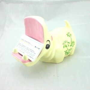 Hippo Business Card Holder Hippopotamus Pink Thistle Flowers Ceramic Handcrafted