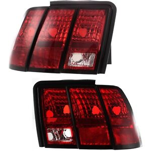 Taillights Taillamps Rear Brake Lights Pair Set New For 99 04 Ford Mustang