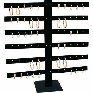 Black Velvet 6 Tier T bar Earring Display Stand 2 Pcs