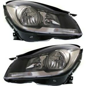 Headlight Set For 2012 2015 Mercedes Benz C250 Left And Right Black Housing 2pc