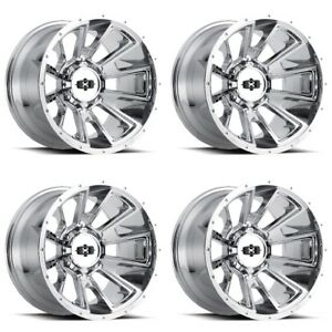 Set 4 20 Vision 391 Rebel Chrome Wheels 20x10 8x180 25mm Chevy Gmc 8 Lug Truck