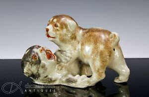 Unusual Antique Japanese Pottery Okimono Statue Of Wrestling Puppies Dogs