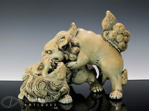 Massive Antique Japanese Porcelain Sculpture Okimono Of Fighting Lions