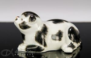 Antique Japanese Porcelain Okimono Statue Of Recumbent Dog