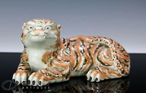 Antique Japanese Painted Arita Porcelain Okimono Of Recumbent Tiger Signed