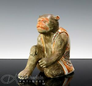 Unusual Old Japanese Porcelain Okimono Of Seated Monkey With Painted Design