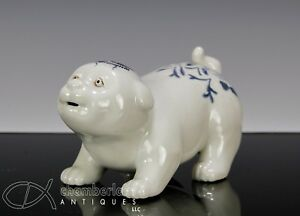 Unusual Antique Japanese Porcelain Dog Okimono Statue With Painted Landscape