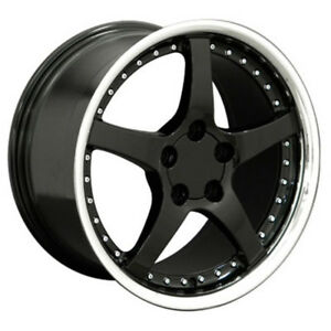 Black Wheel 18x9 5 W Stainless Lip W Rivets For 1993 2002 Chevy Camaro Owh0580