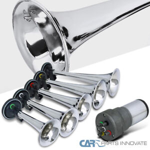 5pc Chrome Trumpet La Cucaracha Musical Air Horn Kit For Truck Car W Compressor