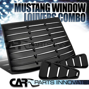 05 14 Mustang Coupe Black 1 4 Side Window Louvers Rear Sun Shade Scoop Cover