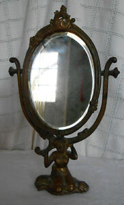 Vintage Bronze Art Nouveau Sitting Woman Oval Table Mirror 372
