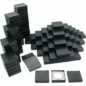 Pinstripe Cotton Filled Jewelry Gift Box Black 100pcs