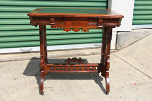 Fancy Walnut Victorian Leather Top Library Table With Stretcher Base Ca 1870