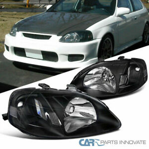 For 1999 2000 Honda Civic Jdm Replacement Black Clear Headlights Head Lamps Pair
