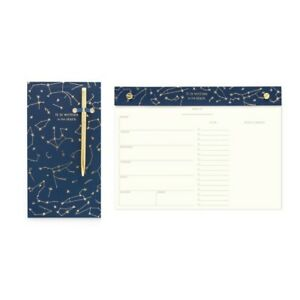 Designworks Set Chunky Note Pad Pen Weekly Desk Planner Written In The Stars