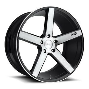 17x8 Niche Milan M124 5x4 5 40 Gloss Black Brushed Face Wheels Set Of 4