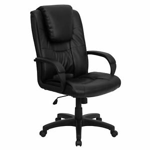 Vinton Black Leather Executive Adjustable Swivel Office Chair With Headrest
